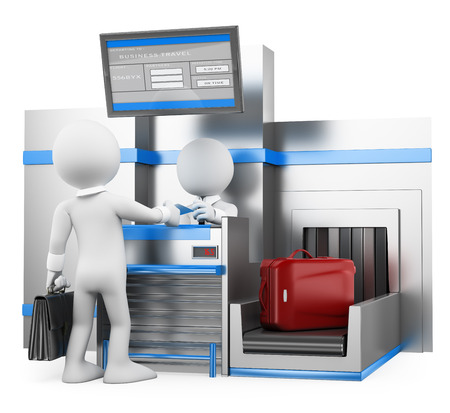 airport check in counter: 3d white people. Businessman checking baggage in airport. Isolated white background.