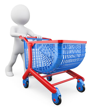 3d white people.  Shopping trolley. Isolated white background.  photo