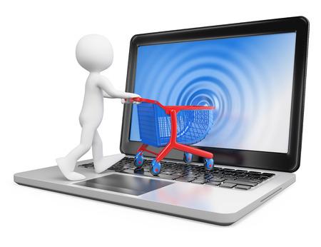3d witte mensen. E-commerce concept. Man met een trolley te gaan op een laptop. Geïsoleerde witte achtergrond. Stockfoto