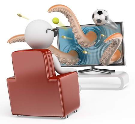 3d white people. Man sitting on a sofa watching a 3D TV. Sports movies. Isolated white background.  photo