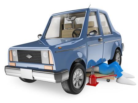 3D 백인. 자동차를 수리하는 정비사. 격리 된 흰색 배경.