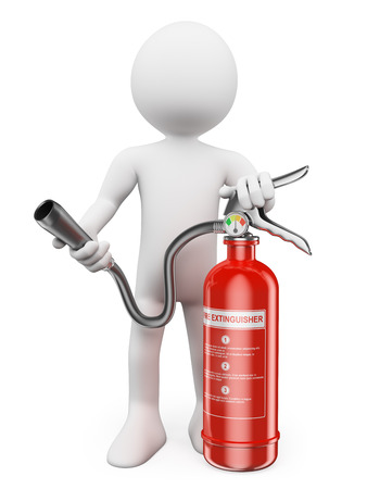 safety equipment: 3d white people. Fire extinguisher. Isolated white background. Stock Photo