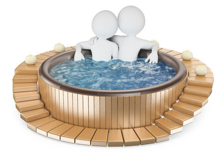 3d white people. Couple relaxing in a wooden jacuzzi with candles. Isolated white background.
