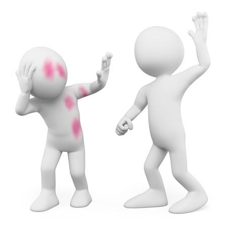 3d bílí lidé. Zneužití. Gender násilí. Izolované bílém pozadí. Reklamní fotografie
