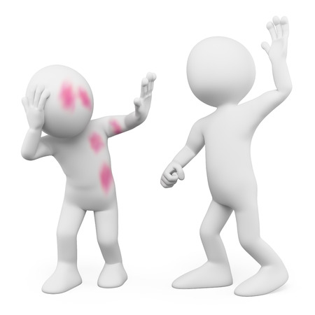 social problems: 3d white people. Abuse. Gender violence. Isolated white background. Stock Photo