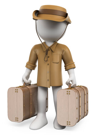 archaeologist: 3d white people. Vintage traveler with two suitcases. Adventurer. Archaeologist. Isolated white background.