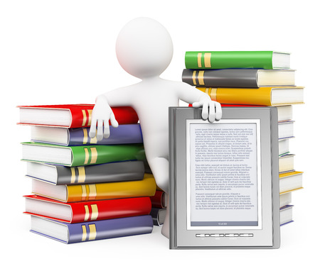 3d white people. Man with piles of books and a ebook reader. Isolated white background.