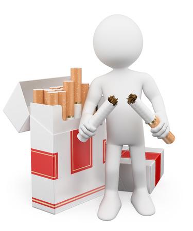 3D 백인. 금연 개념이 없습니다. 담배를 끊는 남자. 격리 된 흰색 배경. 스톡 콘텐츠 - 29393831