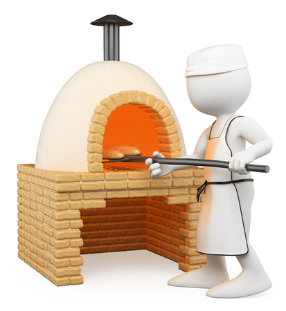 3d white people. Baker making bread in the oven. Isolated white background.  photo