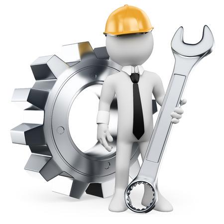 maquinaria: 3d gente blanca. Ingeniero Mecánico con una llave de combinación y el engranaje. Fondo blanco aislado. Foto de archivo