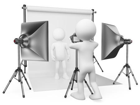 mantel: 3d bianchi. Fotografo di lavoro nel suo studio con un modello. Isolato sfondo bianco. Archivio Fotografico