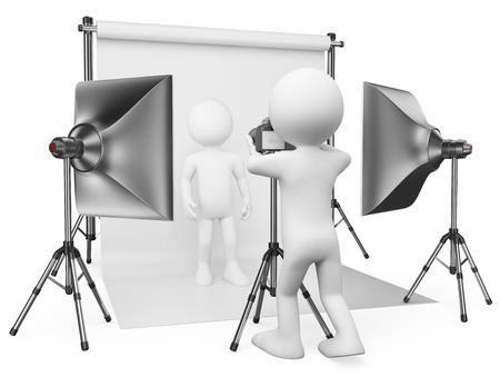 3d white people. Photographer working in his studio with a model. Isolated white background. photo