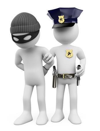 3 d の白人の人々。警察は泥棒を逮捕します。孤立した白い背景。