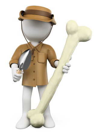 archaeologist: 3d white people. Archaeologist with dinosaur bone. Isolated white background.  Stock Photo