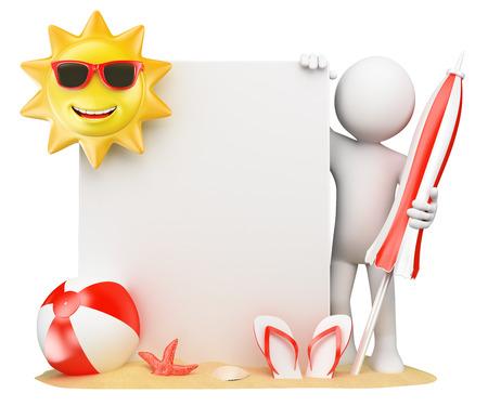 3D-weiße Menschen. Sommer-Hintergrund mit leeren Papier. Sonne Strand Ball und Flip-Flops. Isolierte weißen Hintergrund.