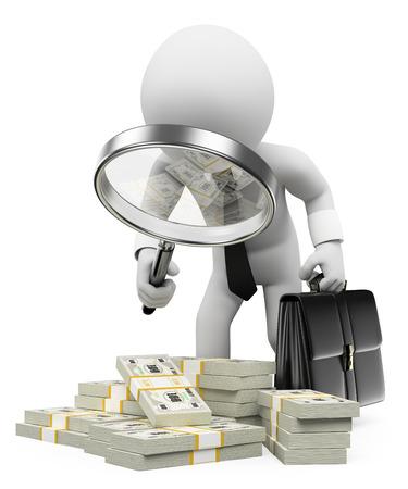 3d witte mensen. Belastinginspecteur met vergrootglas op zoek vuil zwart geld. Geïsoleerde witte achtergrond. Stockfoto