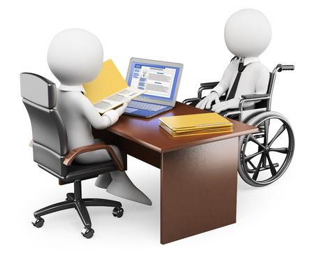 3D 백인. 면접에서 장애인 사람. 격리 된 흰색 배경. 스톡 콘텐츠