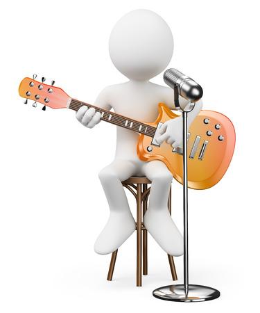3D-weiße Menschen. Sänger Gitarrist. Rock and Roll Star. Isolierten weißen Hintergrund.