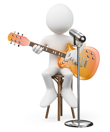 3d white people. Singer guitarist. Rock and roll star. Isolated white background.