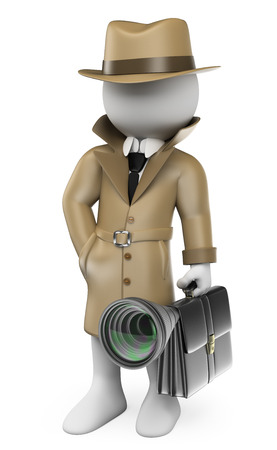 3d white people. Industrial espionage. Detective with a hidden camera. Isolated white background.