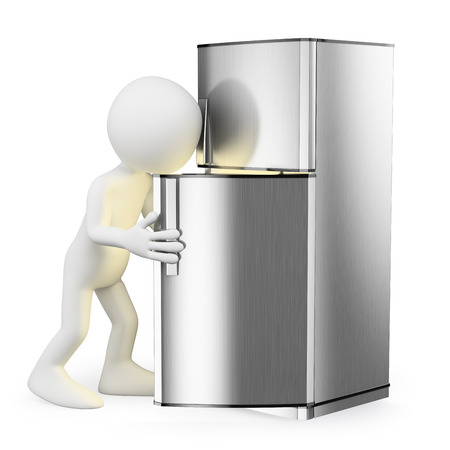 3d white people. Looking in the fridge for something to eat. Isolated white background.  photo