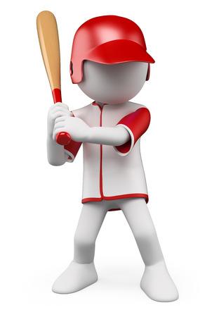 3 차원 흰색 명. 박쥐 준비 야구 선수. 격리 된 흰색 배경. 스톡 콘텐츠