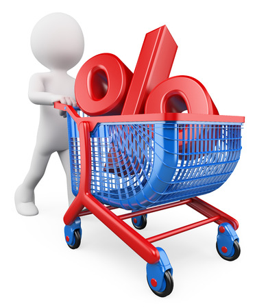3d white people. Percent rate trolley concept. Discount. Financing. Sales. Isolated white background. photo