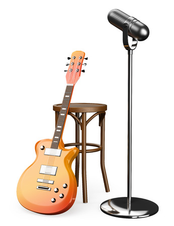 3D Electric guitar stool and microphone. Isolated white background. photo