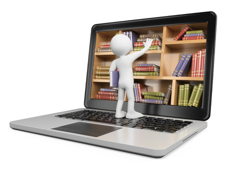 tanulás: 3d fehér emberek. Az új technológiák. Digitális Könyvtár fogalom. Laptop. Elszigetelt fehér háttér előtt.