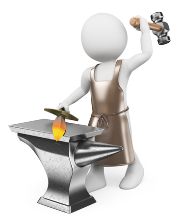 3d white people. Blacksmith forging a sword in an anvil. Isolated white background.  photo
