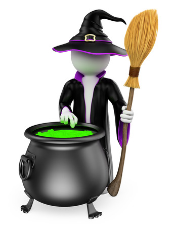 3d halloween: 3d white people. Witch cooking a magical potion. Halloween. Isolated white background.  Stock Photo
