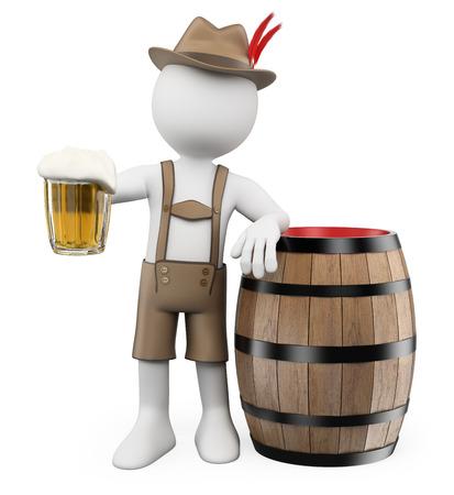 or blanc: 3d personnes de race blanche. Oktoberfest. Homme avec un tonneau de bière et une tasse. Fond blanc isolé.