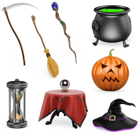 3d halloween: 3D halloween set. Scythe. Broom. Staff. Cauldron. Hourglass. Crystal ball. Pumpkin. Witch Hat. Isolated white background.  Stock Photo