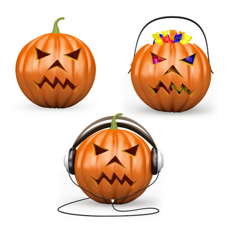 3D halloween pumpkins set. Candies. DJ with headphones. Isolated white background.  photo