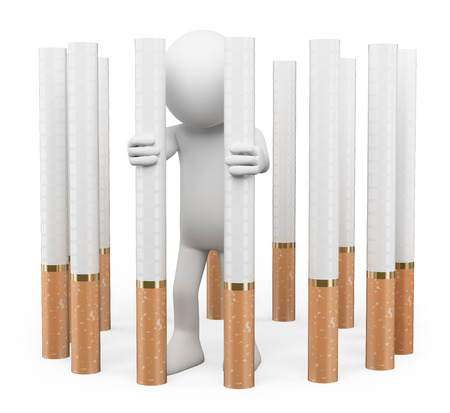 vices: 3d white people. Tobacco addiction concept. Trapped in a prison of cigarettes. Isolated white background.