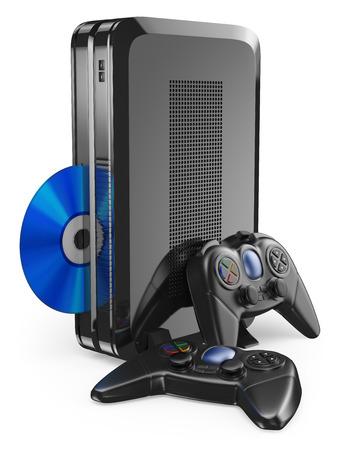 게임 패드와 3D 게임 콘솔. 격리 된 흰색 배경. 스톡 콘텐츠