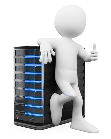 pulgar levantado: 3d gente blanca. Administrador de sistemas con un servidor y el pulgar hacia arriba. Aislado fondo blanco. Foto de archivo
