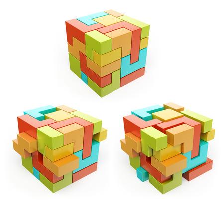 3D 상자. 큐브. 개념을 만듭니다. 격리 된 흰색 배경.