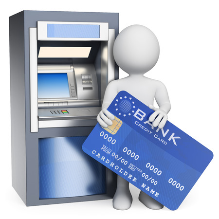 3d white people. ATM. Credit card. Isolated white background.