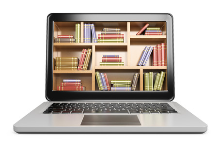 research study: 3D Laptop. Digital Library concept. Isolated white background.