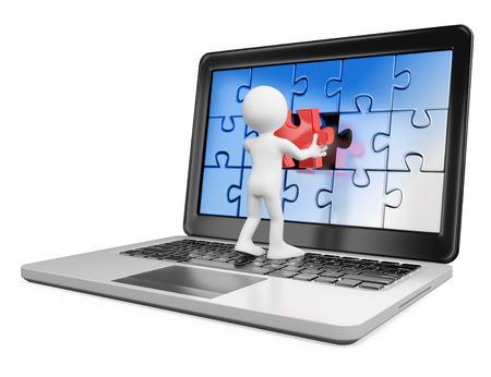 3d white people. Man putting on a laptop screen a red piece missing. Solve concept. Isolated white background.