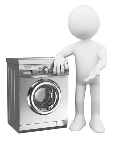 3d guy: 3d white people. Silver modern Washing Machine. Isolated white background.