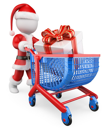 3d white people. Santa Claus with a trolley shopping Christmas gifts. Isolated white background.  photo