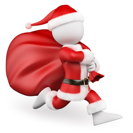 3d white people. Santa Claus running with big bag full of gifts. Isolated white background.  Stock Photo