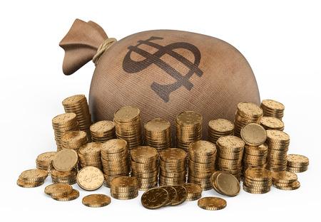 Bag of gold coins: 3d túi tiền và hàng đống tiền xu. Nền trắng bị cô lập.