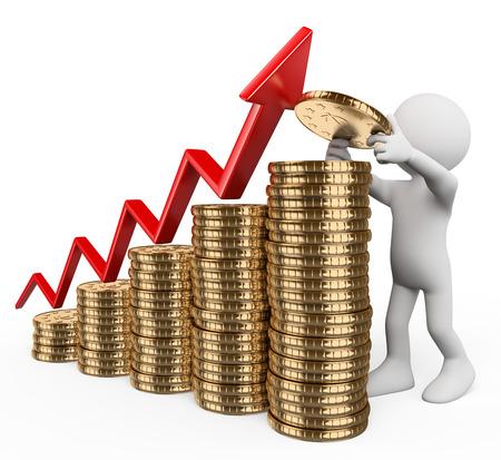 ingresos: 3d gente blanca. Gráfico de barras hecha con monedas. Concepto de crecimiento del capital. Aislado fondo blanco.