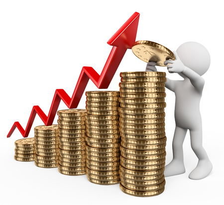 3D-weiße Menschen. Balkendiagramm mit Münzen. Konzept der Kapitalwachstum. Isolierten weißen Hintergrund.
