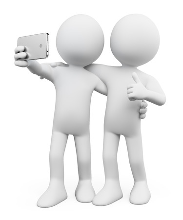 taking photograph: 3d white people. Selfie photo with a friend. Mobile. Isolated white background. Stock Photo