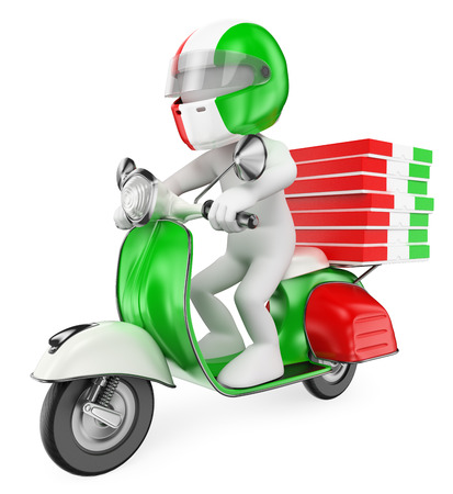 motor scooter: 3d white people. Delivering pizzas by motorcycle. Isolated white background.
