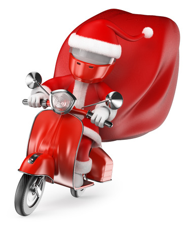 cartoon biker: 3d white people. Santa delivering gifts by motorcycle. Isolated white background.